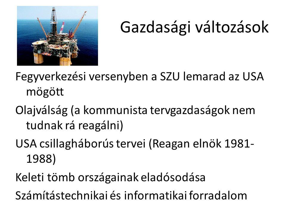 Gazdasági változások Fegyverkezési versenyben a SZU lemarad az USA mögött Olajválság (a kommunista tervgazdaságok nem tudnak rá reagálni) USA csillagh