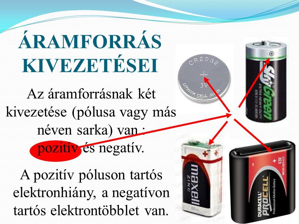 Az áramforrásnak két kivezetése (pólusa vagy más néven sarka) van.: pozitív és negatív. A pozitív póluson tartós elektronhiány, a negatívon tartós ele