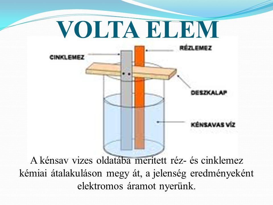 VOLTA ELEM A kénsav vizes oldatába merített réz- és cinklemez kémiai átalakuláson megy át, a jelenség eredményeként elektromos áramot nyerünk.