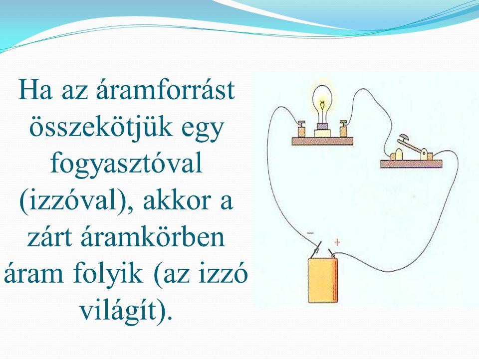 Ha az áramforrást összekötjük egy fogyasztóval (izzóval), akkor a zárt áramkörben áram folyik (az izzó világít).