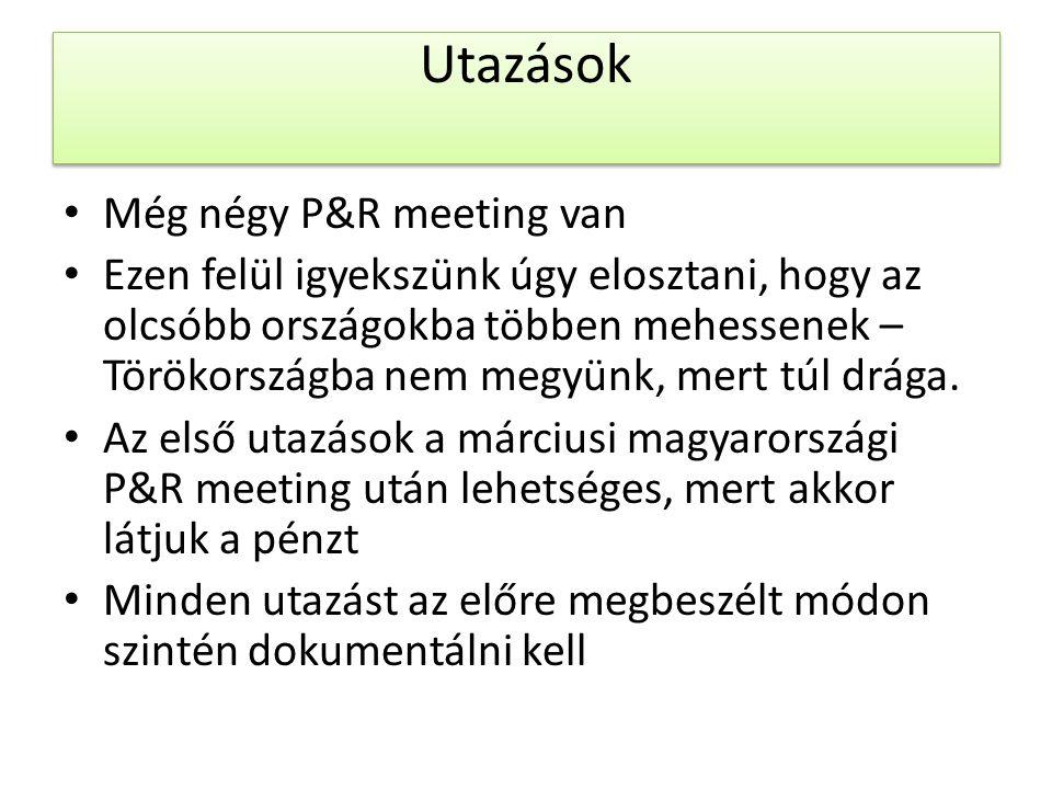 Utazások Még négy P&R meeting van Ezen felül igyekszünk úgy elosztani, hogy az olcsóbb országokba többen mehessenek – Törökországba nem megyünk, mert túl drága.