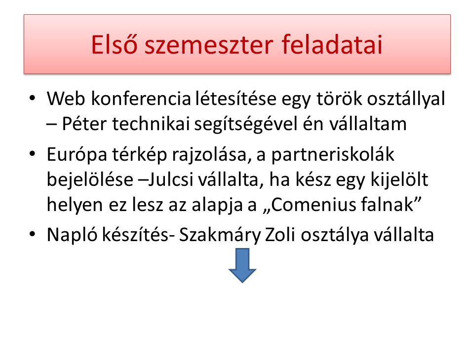 """Első szemeszter feladatai Web konferencia létesítése egy török osztállyal – Péter technikai segítségével én vállaltam Európa térkép rajzolása, a partneriskolák bejelölése –Julcsi vállalta, ha kész egy kijelölt helyen ez lesz az alapja a """"Comenius falnak Napló készítés- Szakmáry Zoli osztálya vállalta"""