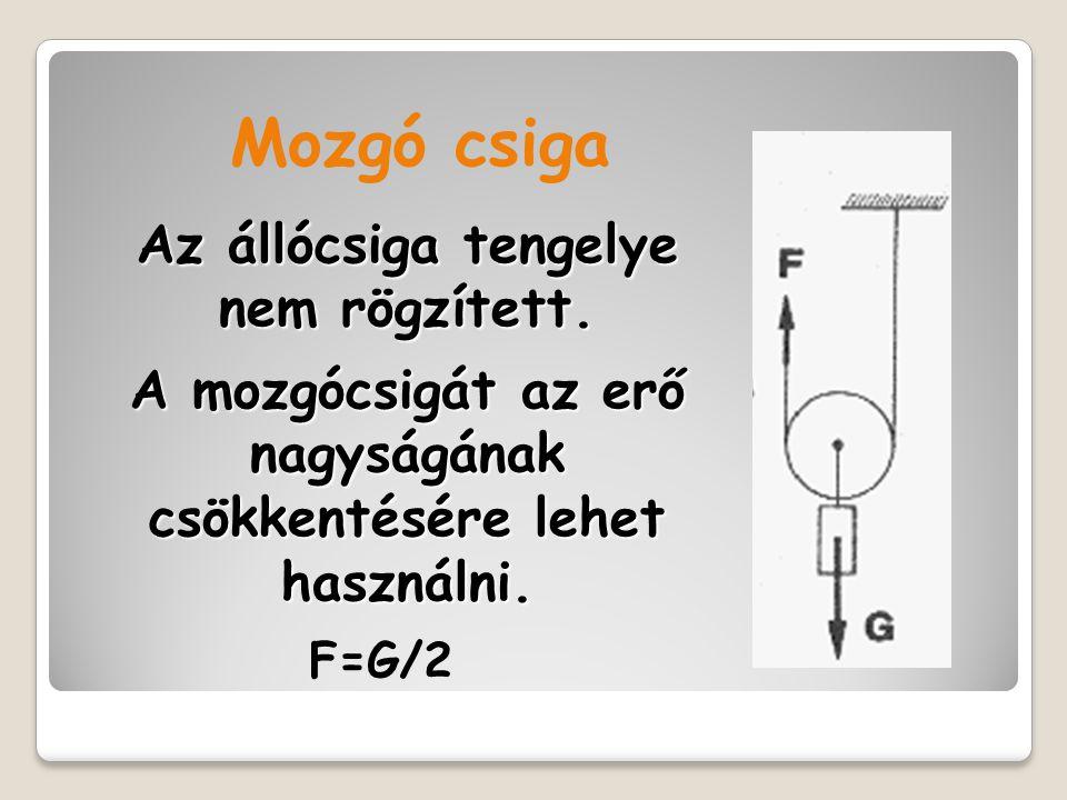 Az állócsiga tengelye nem rögzített. A mozgócsigát az erő nagyságának csökkentésére lehet használni. Mozgó csiga F=G/2