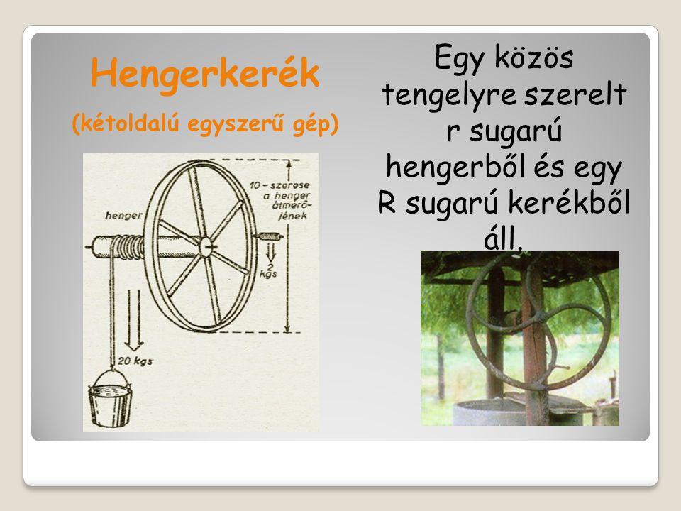 Hengerkerék (kétoldalú egyszerű gép) Egy közös tengelyre szerelt r sugarú hengerből és egy R sugarú kerékből áll.