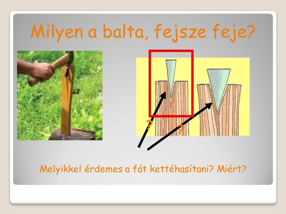 Milyen a balta, fejsze feje? Melyikkel érdemes a fát kettéhasítani? Miért? ? ?