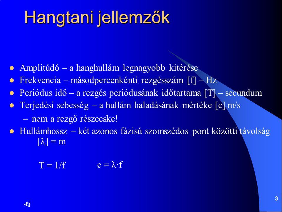 -fij 4 A decibel fogalma Két teljesítmény (elektromos, akusztikus) vagy intenzitás érték arányának logaritmusa n = 10 · lg ( I 1 /I 0 ) [dB] Hangnyomás esetén n = 20 · lg ( p 1 /p 0 ) [dB], mert n=10 · lg ( I 1 /I 0 ) [dB]= 10 · lg ( kp 1 2 /kp 0 2 ) [dB] = = 20 · lg ( p 1 /p 0 ) [dB] –ahol p 0 a hallásküszöb értéke 1000Hz-en (20  Pa) A leggyengébb hang amit az emberi fül még hall 20  Pa Ekkor a dobhártya nm mértékű mozgást végez.
