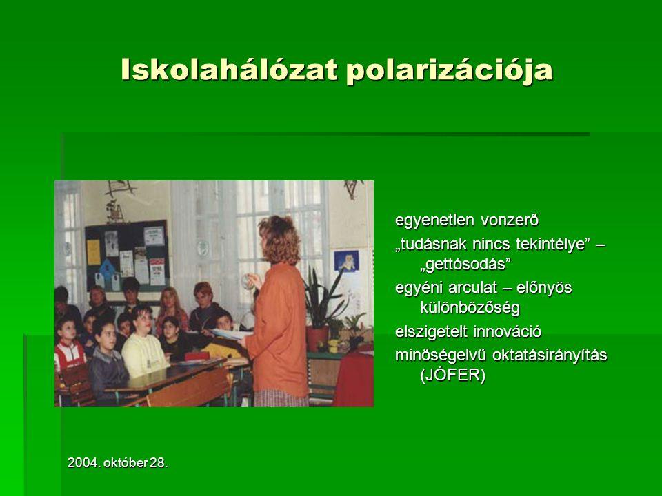 """2004. október 28. Iskolahálózat polarizációja egyenetlen vonzerő """"tudásnak nincs tekintélye"""" – """"gettósodás"""" egyéni arculat – előnyös különbözőség elsz"""