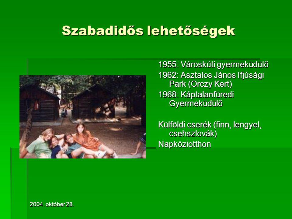 2004. október 28. Szabadidős lehetőségek 1955: Városkúti gyermeküdülő 1962: Asztalos János Ifjúsági Park (Orczy Kert) 1968: Káptalanfüredi Gyermeküdül