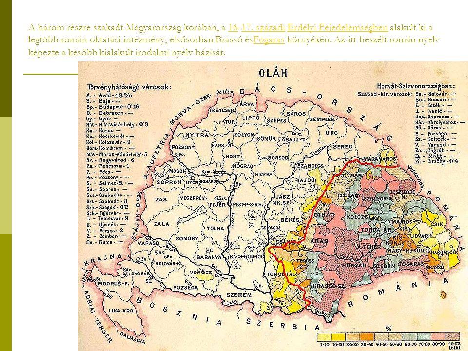 A három részre szakadt Magyarország korában, a 16-17. századi Erdélyi Fejedelemségben alakult ki a legtöbb román oktatási intézmény, elsősorban Brassó