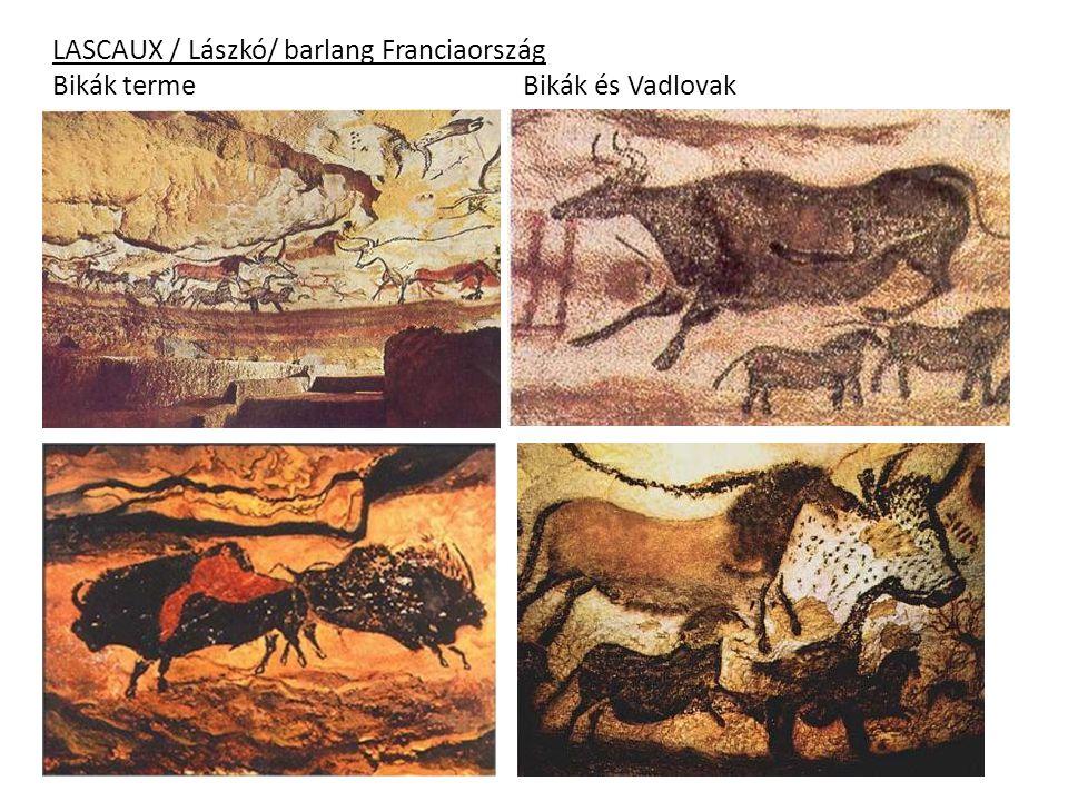 LASCAUX / Lászkó/ barlang Franciaország Bikák terme Bikák és Vadlovak