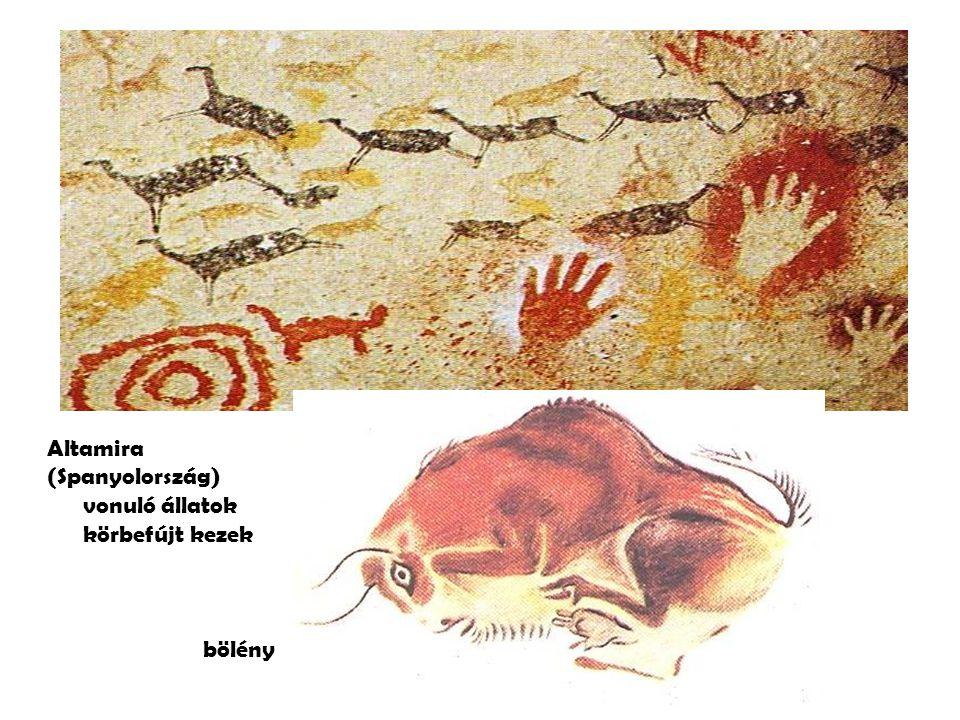 Altamira (Spanyolország) vonuló állatok körbefújt kezek bölény