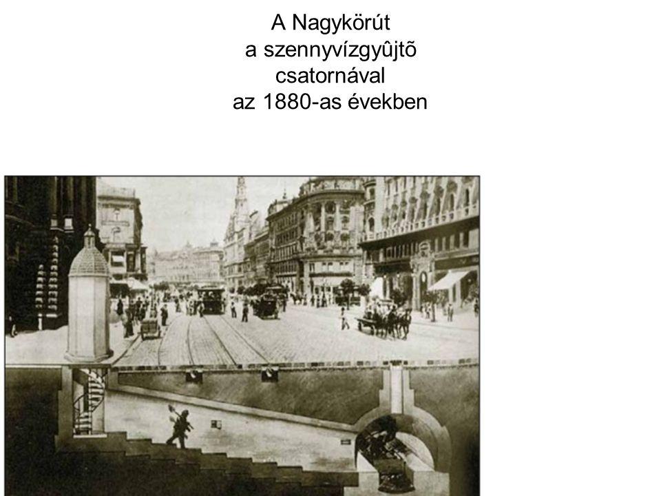 A Nagykörút a szennyvízgyûjtõ csatornával az 1880-as években