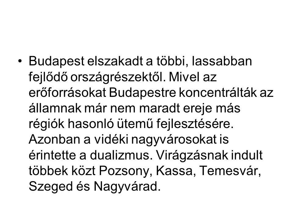 Budapest elszakadt a többi, lassabban fejlődő országrészektől. Mivel az erőforrásokat Budapestre koncentrálták az államnak már nem maradt ereje más ré