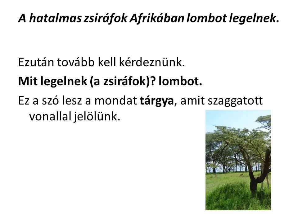 A hatalmas zsiráfok Afrikában lombot legelnek. Ezután tovább kell kérdeznünk. Mit legelnek (a zsiráfok)? lombot. Ez a szó lesz a mondat tárgya, amit s