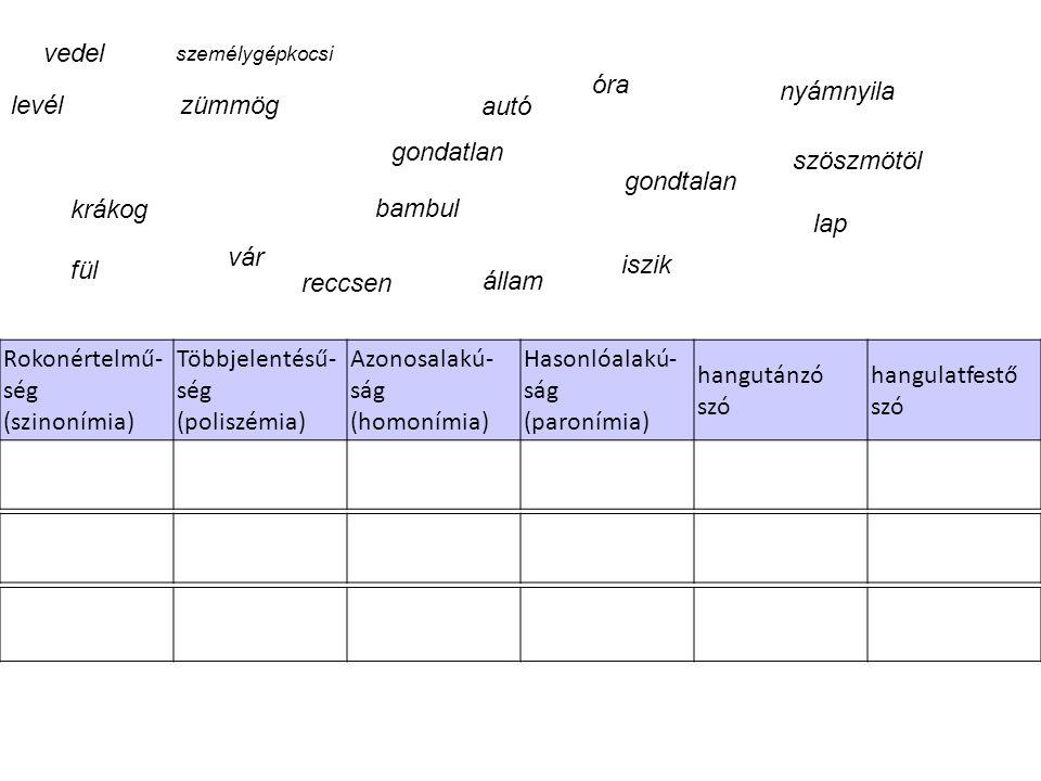 Rokonértelmű- ség (szinonímia) Többjelentésű- ség (poliszémia) Azonosalakú- ság (homonímia) Hasonlóalakú- ság (paronímia) hangutánzó szó hangulatfestő