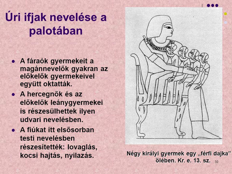 50 Úri ifjak nevelése a palotában A fáraók gyermekeit a magánnevelők gyakran az előkelők gyermekeivel együtt oktatták. A hercegnők és az előkelők leán