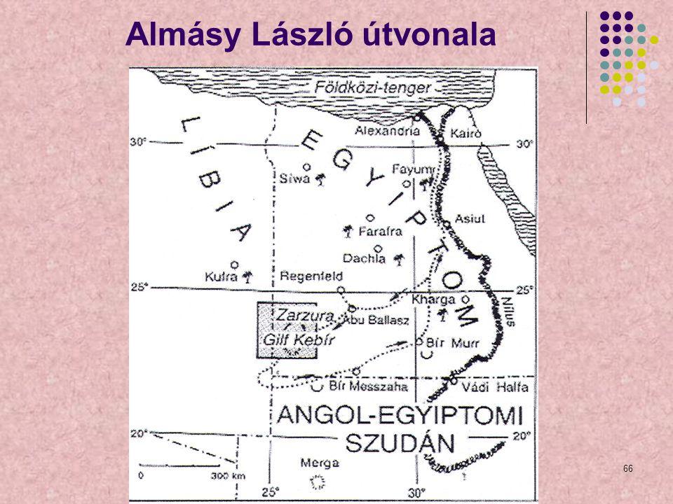 66 Almásy László útvonala