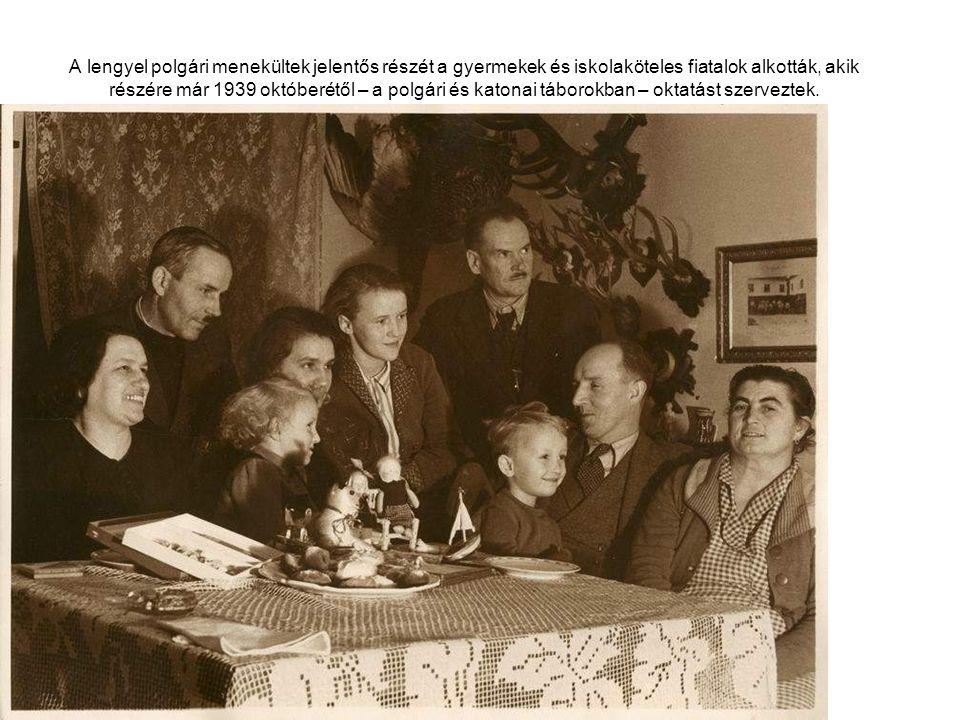 A lengyel polgári menekültek jelentős részét a gyermekek és iskolaköteles fiatalok alkották, akik részére már 1939 októberétől – a polgári és katonai