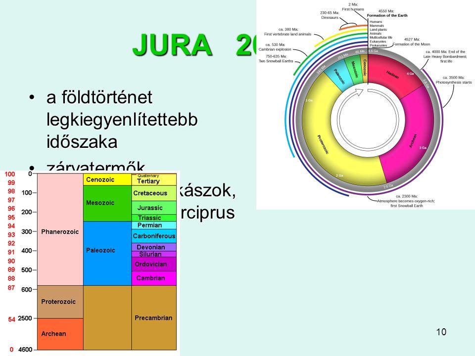 10 JURA 200-145 a földtörténet legkiegyenlítettebb időszakaa földtörténet legkiegyenlítettebb időszaka zárvatermők nyitvatermők, cikászok, hatalmas mo