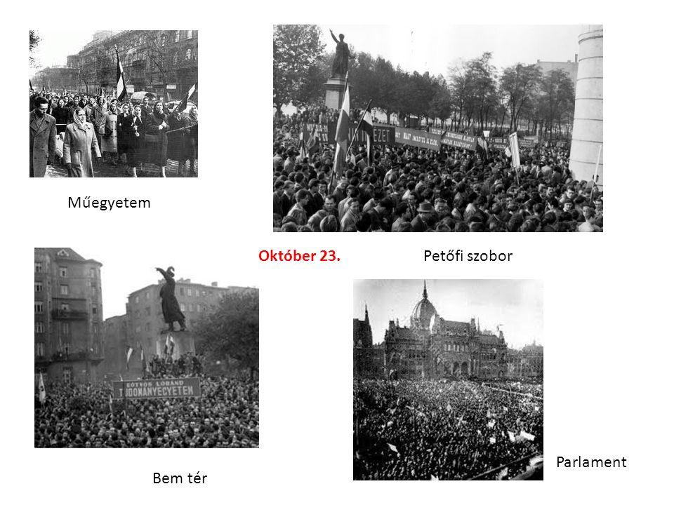 Műegyetem Bem tér Petőfi szobor Parlament Október 23.