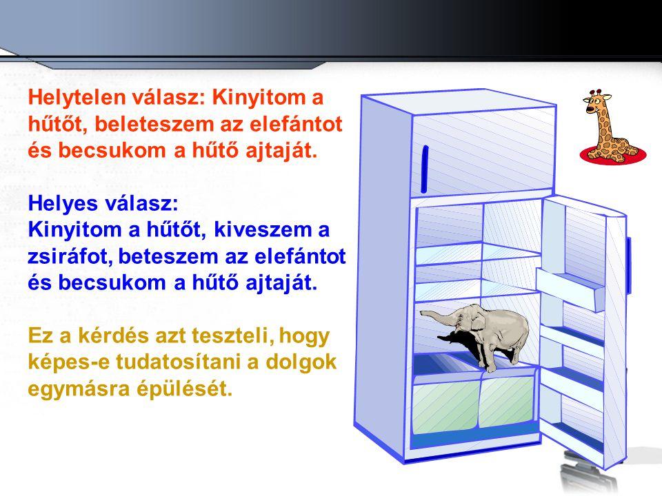 Helytelen válasz: Kinyitom a hűtőt, beleteszem az elefántot és becsukom a hűtő ajtaját. Helyes válasz: Kinyitom a hűtőt, kiveszem a zsiráfot, beteszem