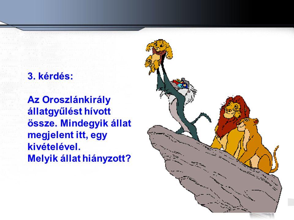 3. kérdés: Az Oroszlánkirály állatgyűlést hívott össze. Mindegyik állat megjelent itt, egy kivételével. Melyik állat hiányzott?
