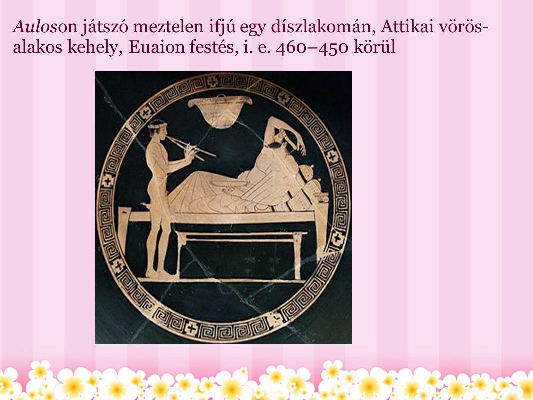 Auloson játszó meztelen ifjú egy díszlakomán, Attikai vörös- alakos kehely, Euaion festés, i. e. 460–450 körül