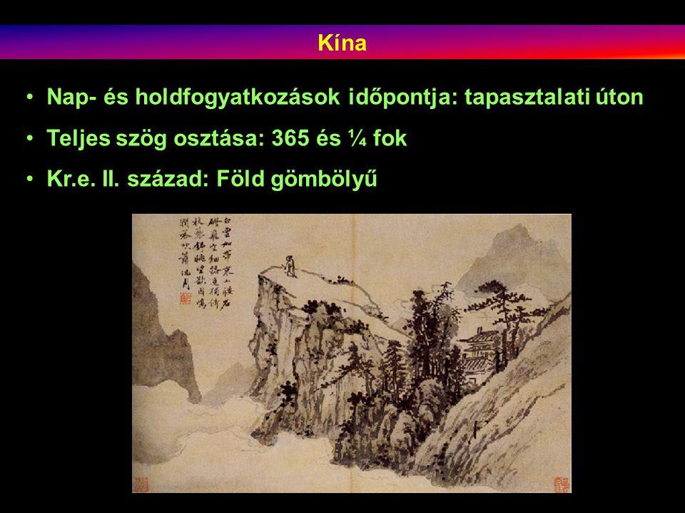 Kína Nap- és holdfogyatkozások időpontja: tapasztalati úton Teljes szög osztása: 365 és ¼ fok Kr.e.