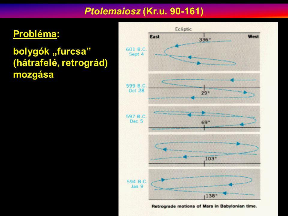 """Ptolemaiosz (Kr.u. 90-161) Probléma: bolygók """"furcsa (hátrafelé, retrográd) mozgása"""