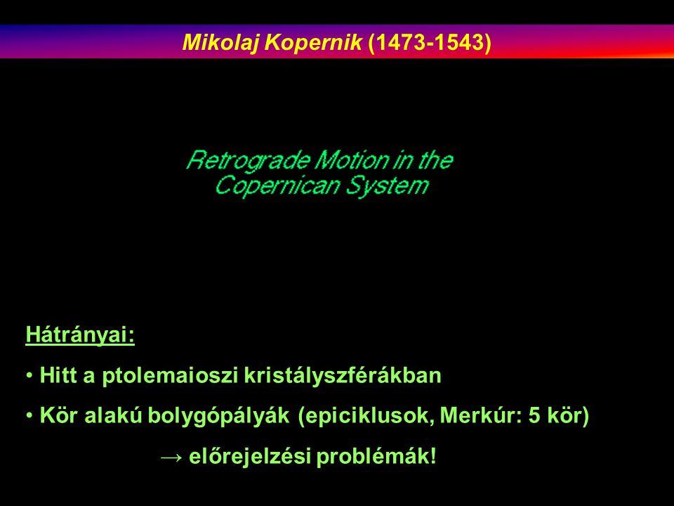 Hátrányai: Hitt a ptolemaioszi kristályszférákban Kör alakú bolygópályák (epiciklusok, Merkúr: 5 kör) → előrejelzési problémák.