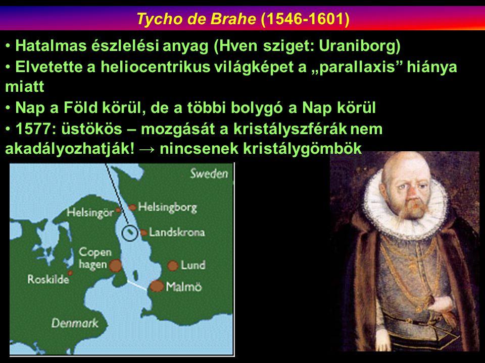 """Tycho de Brahe (1546-1601) Hatalmas észlelési anyag (Hven sziget: Uraniborg) Elvetette a heliocentrikus világképet a """"parallaxis hiánya miatt Nap a Föld körül, de a többi bolygó a Nap körül 1577: üstökös – mozgását a kristályszférák nem akadályozhatják."""