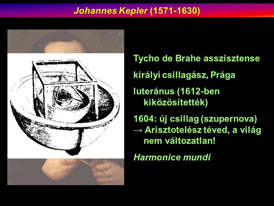 Tycho de Brahe asszisztense királyi csillagász, Prága luteránus (1612-ben kiközösítették) 1604: új csillag (szupernova) → Arisztotelész téved, a világ nem változatlan.