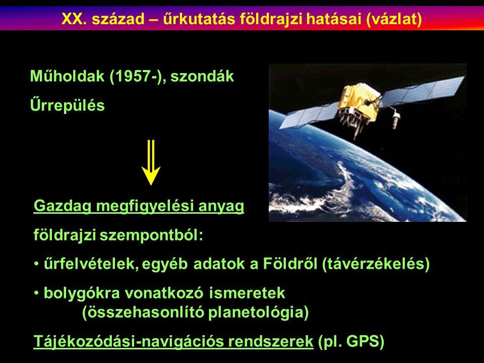 Műholdak (1957-), szondák Űrrepülés Gazdag megfigyelési anyag földrajzi szempontból: űrfelvételek, egyéb adatok a Földről (távérzékelés) bolygókra vonatkozó ismeretek (összehasonlító planetológia) Tájékozódási-navigációs rendszerek (pl.