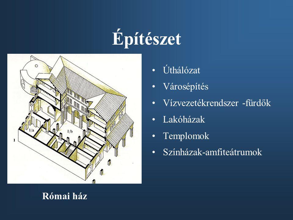 Építészet Úthálózat Városépítés Vízvezetékrendszer -fürdők Lakóházak Templomok Színházak-amfiteátrumok Római ház