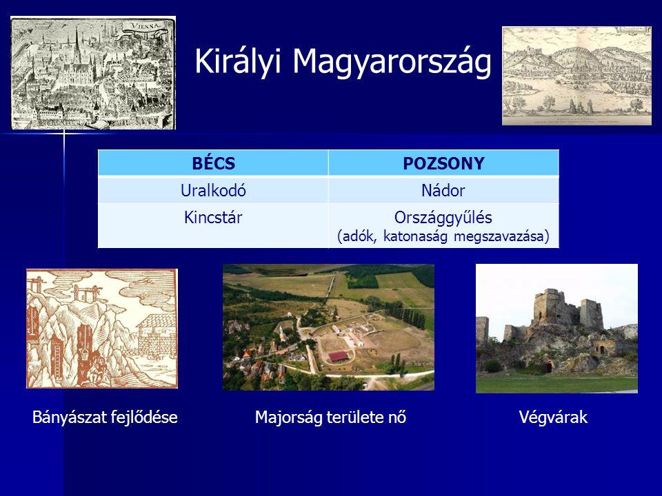 Királyi Magyarország BÉCSPOZSONY UralkodóNádor KincstárOrszággyűlés (adók, katonaság megszavazása) Bányászat fejlődéseMajorság területe nőVégvárak