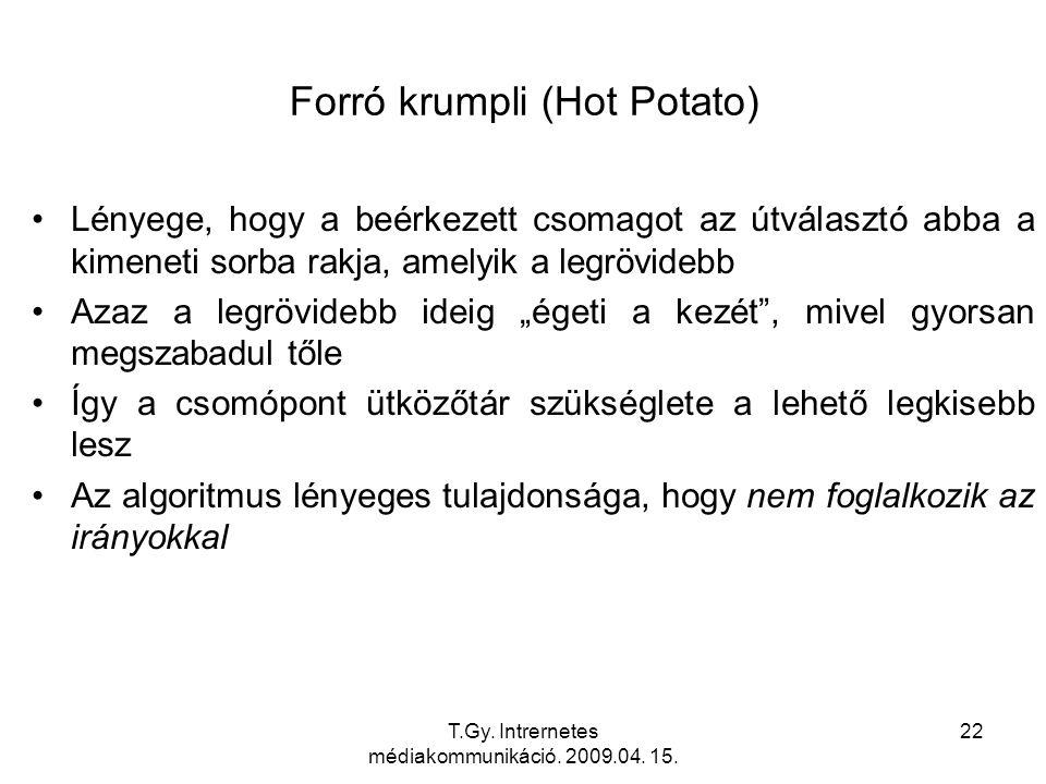 T.Gy. Intrernetes médiakommunikáció. 2009.04. 15. 22 Forró krumpli (Hot Potato) Lényege, hogy a beérkezett csomagot az útválasztó abba a kimeneti sorb