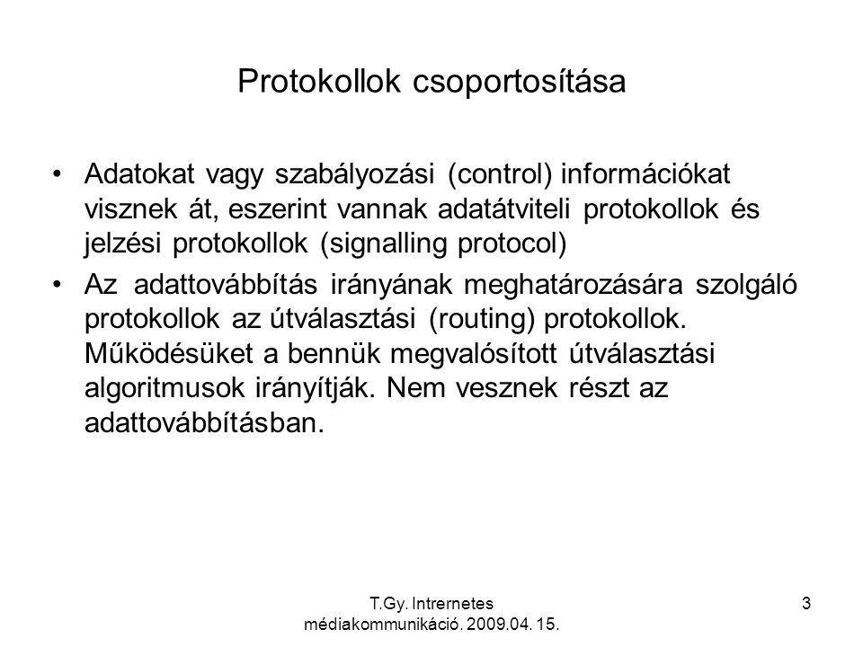 T.Gy. Intrernetes médiakommunikáció. 2009.04. 15. 3 Protokollok csoportosítása Adatokat vagy szabályozási (control) információkat visznek át, eszerint