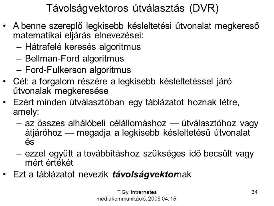 T.Gy. Intrernetes médiakommunikáció. 2009.04. 15. 34 Távolságvektoros útválasztás (DVR) A benne szereplő legkisebb késleltetési útvonalat megkereső ma