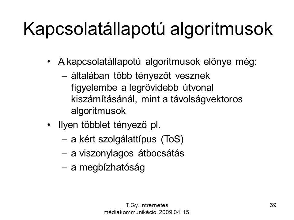 T.Gy. Intrernetes médiakommunikáció. 2009.04. 15. 39 Kapcsolatállapotú algoritmusok A kapcsolatállapotú algoritmusok előnye még: –általában több ténye