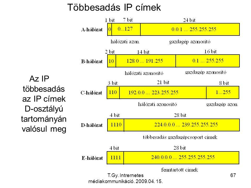 T.Gy. Intrernetes médiakommunikáció. 2009.04. 15. 67 Többesadás IP címek Az IP többesadás az IP címek D-osztályú tartományán valósul meg