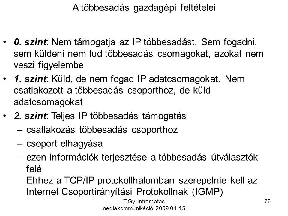 T.Gy. Intrernetes médiakommunikáció. 2009.04. 15. 76 A többesadás gazdagépi feltételei 0. szint: Nem támogatja az IP többesadást. Sem fogadni, sem kül