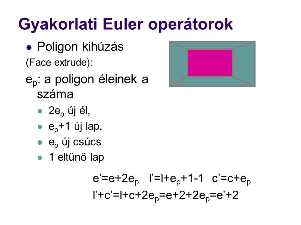 Gyakorlati Euler operátorok Poligon kihúzás (Face extrude): e p : a poligon éleinek a száma 2e p új él, e p +1 új lap, e p új csúcs 1 eltűnő lap e'=e+2e p l'=l+e p +1-1 c'=c+e p l'+c'=l+c+2e p =e+2+2e p =e'+2