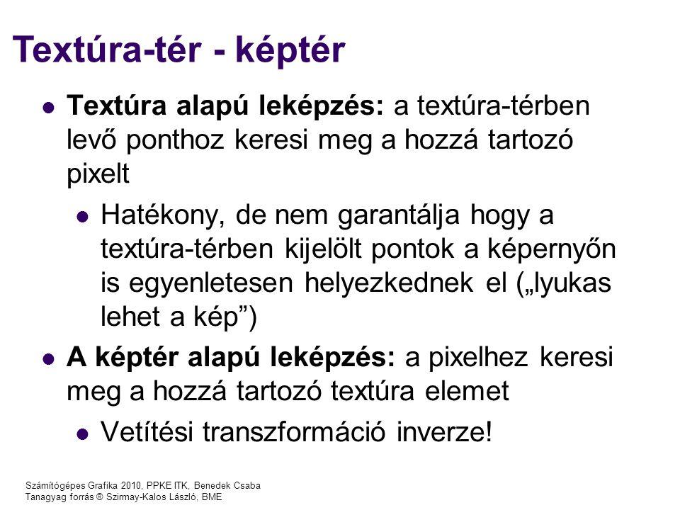 Számítógépes Grafika 2010, PPKE ITK, Benedek Csaba Tanagyag forrás ® Szirmay-Kalos László, BME Textúra-tér - képtér Textúra alapú leképzés: a textúra-