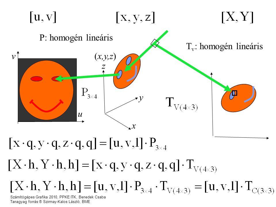 Számítógépes Grafika 2010, PPKE ITK, Benedek Csaba Tanagyag forrás ® Szirmay-Kalos László, BME u v x z y (x,y,z) P: homogén lineáris T v : homogén lineáris
