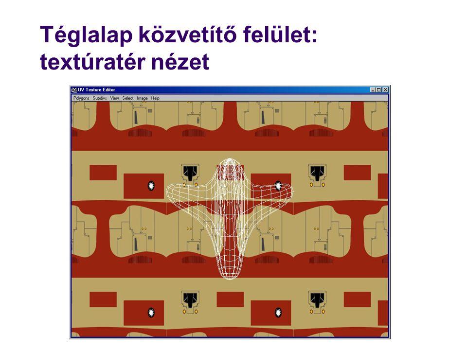 Téglalap közvetítő felület: textúratér nézet