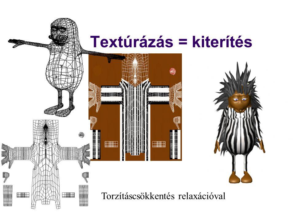 Textúrázás = kiterítés Torzításcsökkentés relaxációval