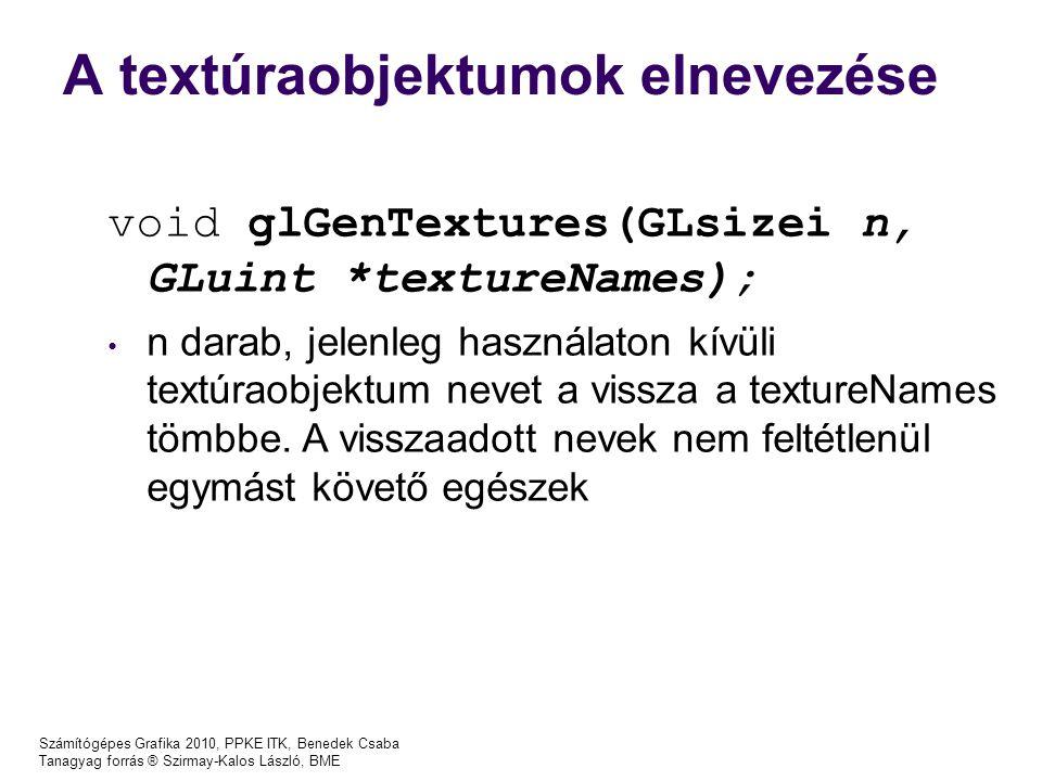 A textúraobjektumok elnevezése Számítógépes Grafika 2010, PPKE ITK, Benedek Csaba Tanagyag forrás ® Szirmay-Kalos László, BME void glGenTextures(GLsizei n, GLuint *textureNames); n darab, jelenleg használaton kívüli textúraobjektum nevet a vissza a textureNames tömbbe.