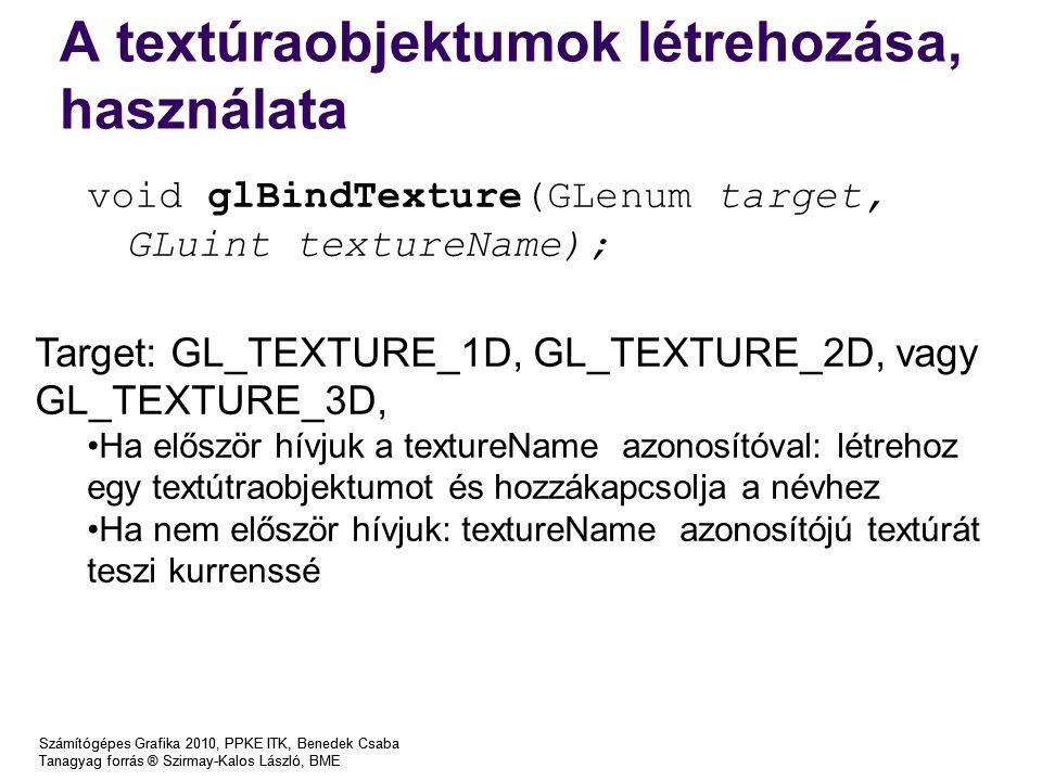 A textúraobjektumok létrehozása, használata Számítógépes Grafika 2010, PPKE ITK, Benedek Csaba Tanagyag forrás ® Szirmay-Kalos László, BME Számítógépes Grafika 2010, PPKE ITK, Benedek Csaba Tanagyag forrás ® Szirmay-Kalos László, BME void glBindTexture(GLenum target, GLuint textureName); Target: GL_TEXTURE_1D, GL_TEXTURE_2D, vagy GL_TEXTURE_3D, Ha először hívjuk a textureName azonosítóval: létrehoz egy textútraobjektumot és hozzákapcsolja a névhez Ha nem először hívjuk: textureName azonosítójú textúrát teszi kurrenssé