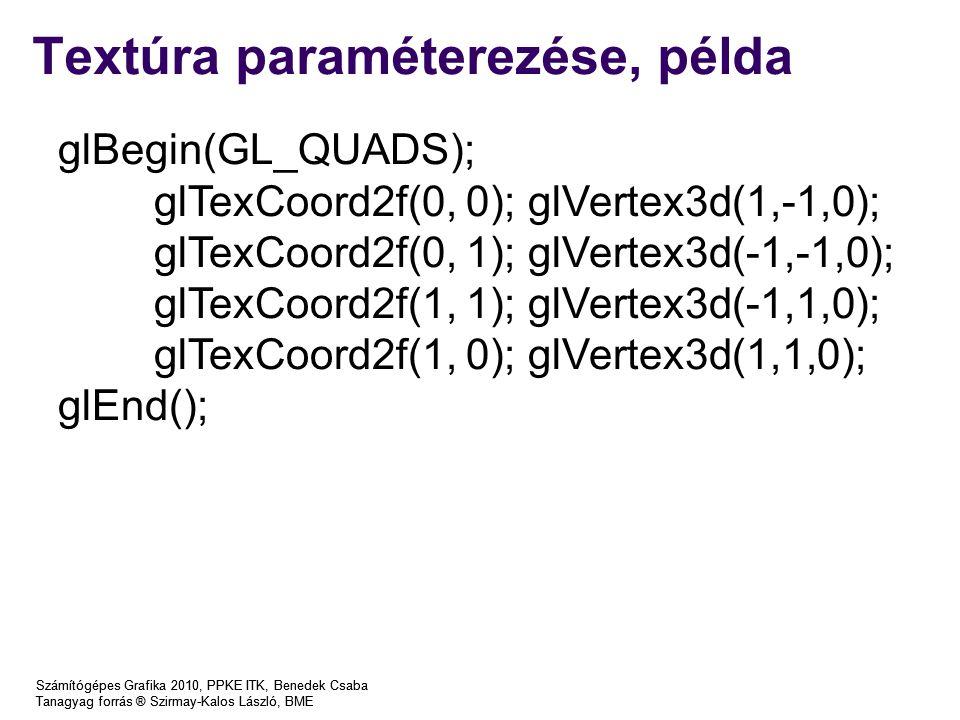 Számítógépes Grafika 2010, PPKE ITK, Benedek Csaba Tanagyag forrás ® Szirmay-Kalos László, BME Textúra paraméterezése, példa Számítógépes Grafika 2010