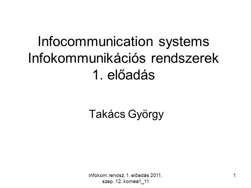 Infokom. rendsz. 1. előadás 2011. szep. 12. komea1_11 1 Infocommunication systems Infokommunikációs rendszerek 1. előadás Takács György
